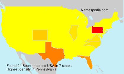 Familiennamen Beunier - USA