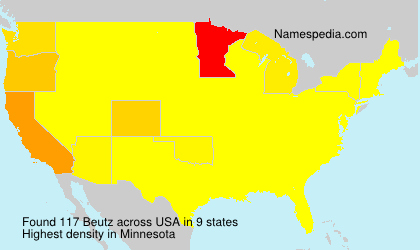 Surname Beutz in USA