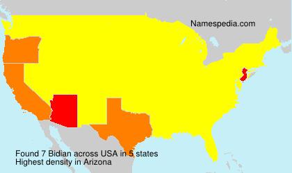 Familiennamen Bidian - USA