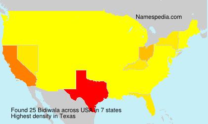 Surname Bidiwala in USA