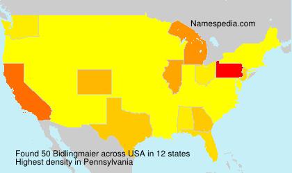 Familiennamen Bidlingmaier - USA