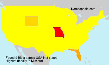 Familiennamen Biest - USA