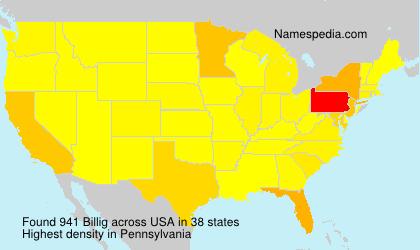 Surname Billig in USA