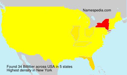 Familiennamen Billittier - USA