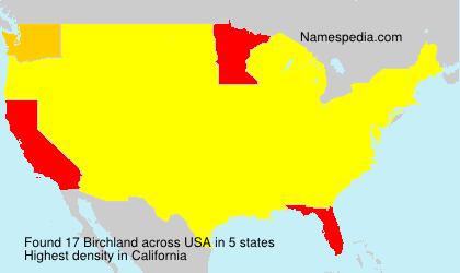 Surname Birchland in USA