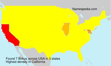 Surname Birkus in USA