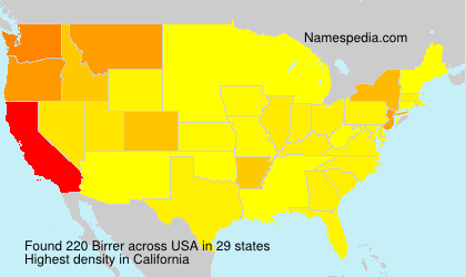 Surname Birrer in USA