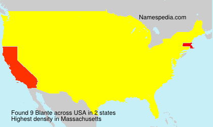 Surname Blante in USA