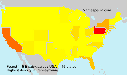 Surname Blazick in USA