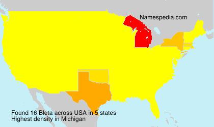 Familiennamen Bleta - USA
