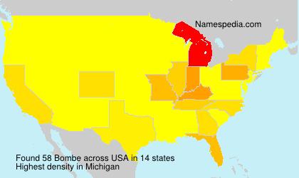 Familiennamen Bombe - USA
