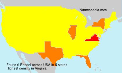 Familiennamen Bondel - USA