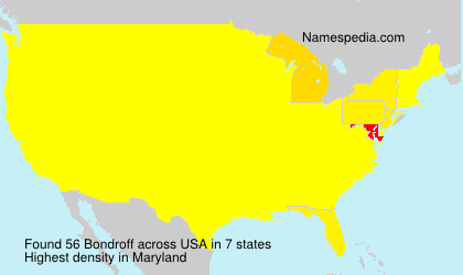 Familiennamen Bondroff - USA