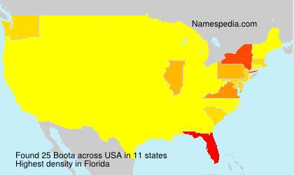 Familiennamen Boota - USA
