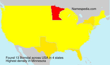 Surname Borndal in USA