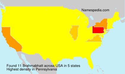 Familiennamen Brahmabhatt - USA