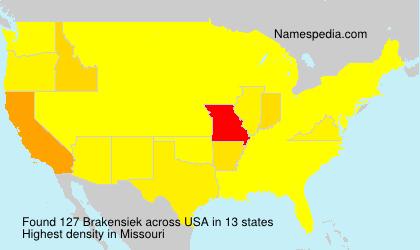Surname Brakensiek in USA
