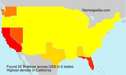 Familiennamen Brakkee - USA