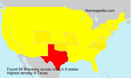 Surname Branecky in USA
