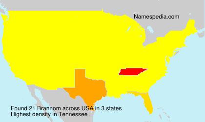 Familiennamen Brannom - USA