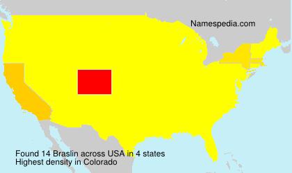 Surname Braslin in USA