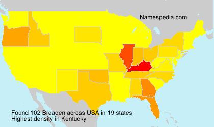 Familiennamen Breaden - USA