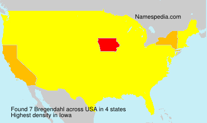 Surname Bregendahl in USA