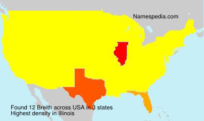 Familiennamen Breith - USA