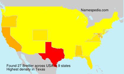 Surname Breitler in USA