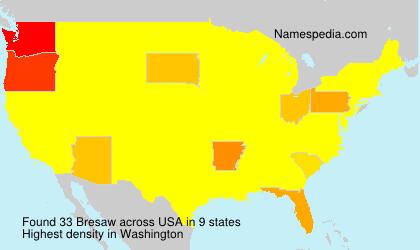Surname Bresaw in USA