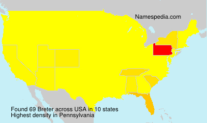 Surname Breter in USA