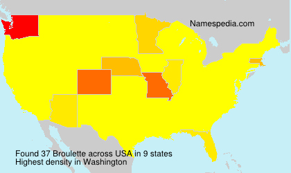 Surname Broulette in USA