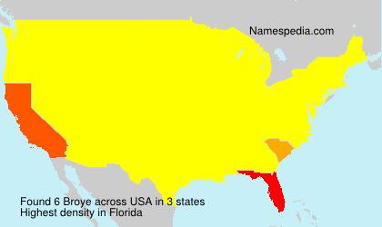 Familiennamen Broye - USA