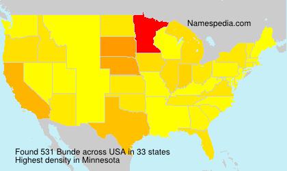 Surname Bunde in USA