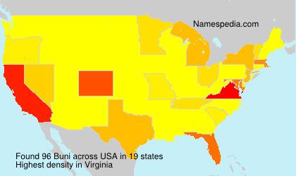 Surname Buni in USA