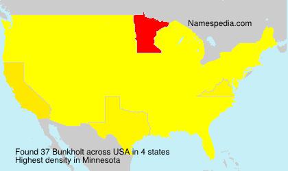 Surname Bunkholt in USA