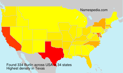 Surname Burlin in USA