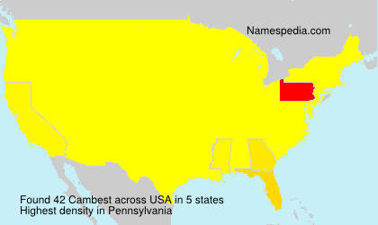Surname Cambest in USA