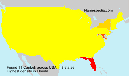 Surname Canbek in USA