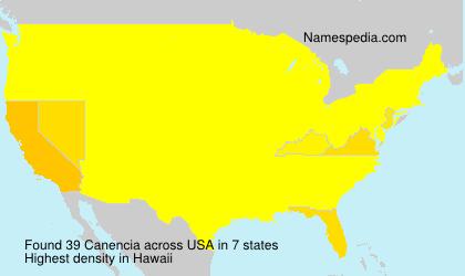 Familiennamen Canencia - USA