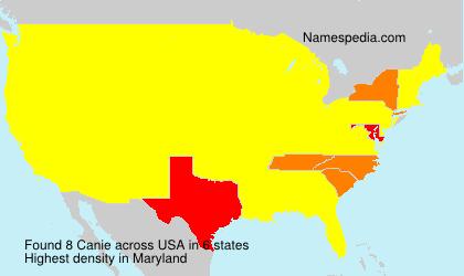 Familiennamen Canie - USA