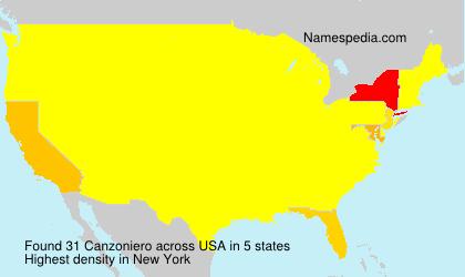 Surname Canzoniero in USA