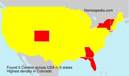 Familiennamen Carelse - USA