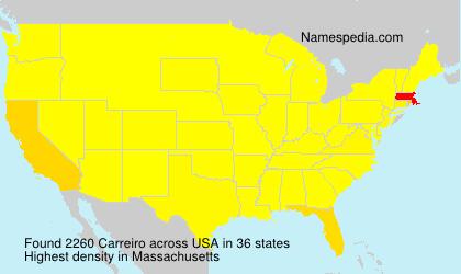 Familiennamen Carreiro - USA