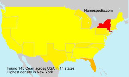 Familiennamen Cean - USA