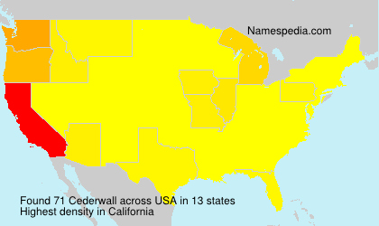 Surname Cederwall in USA