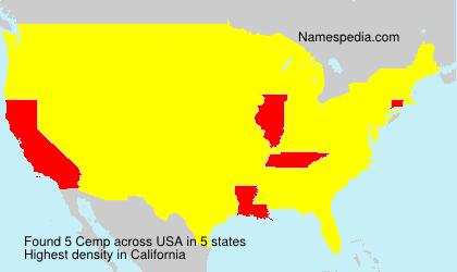 Familiennamen Cemp - USA