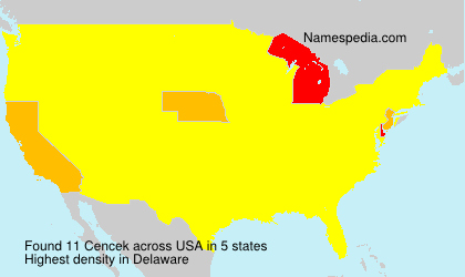 Surname Cencek in USA