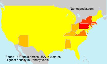 Surname Cencia in USA