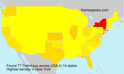 Surname Cetinkaya in USA